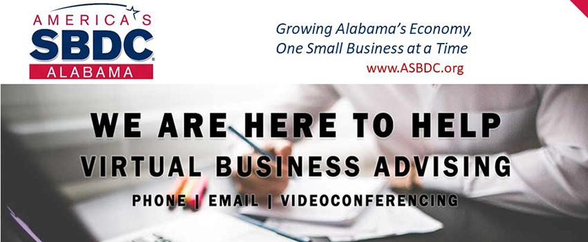 We are here to help. Virtual Business Advising. Linked to SBDC site.