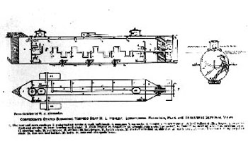 Schematic drawing of the interior of the Hunley.  Photograph courtesy of The Museum of the Confederacy.