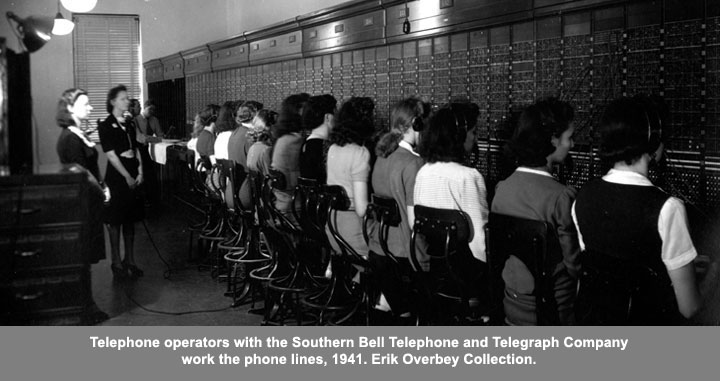 Telephones operators with the Southern Bell Telephone and Telegraph Company work the phone lines, 1941