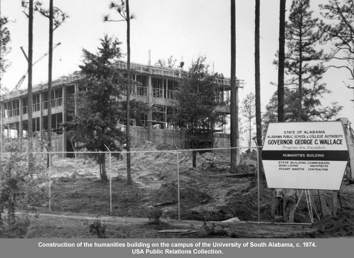 Construction of the Humanities building on the campus of the University of South Alabama
