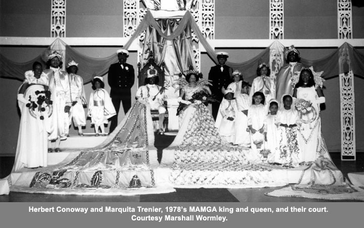 Herbert Conoway and Marquita Trenier, 1978's MAMGA king and queen, and their court.