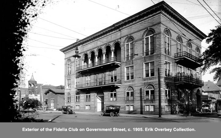 Exterior of the Fidella Club on Government Street, c. 1905.