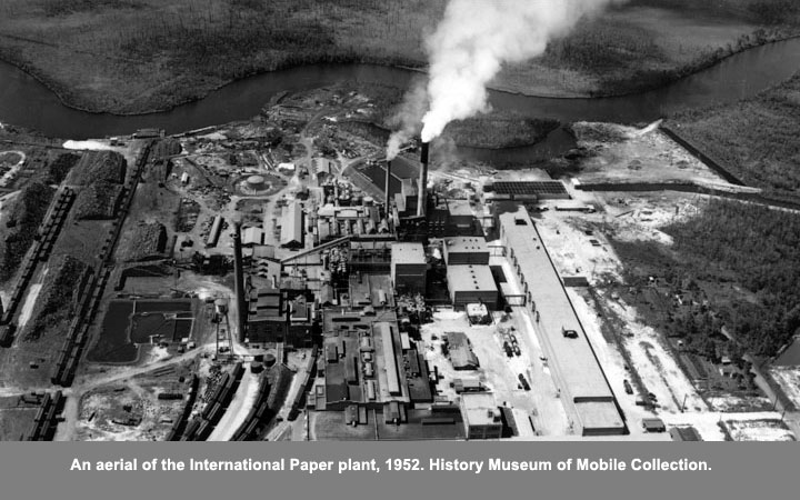An aerial of the International Paper plant, 1952.