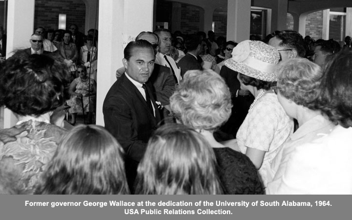 Former Govenor George Wallace at the dedication of the University of South Alabama, 1964.