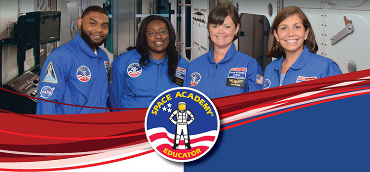 Three female and one male educator in space academy uniform