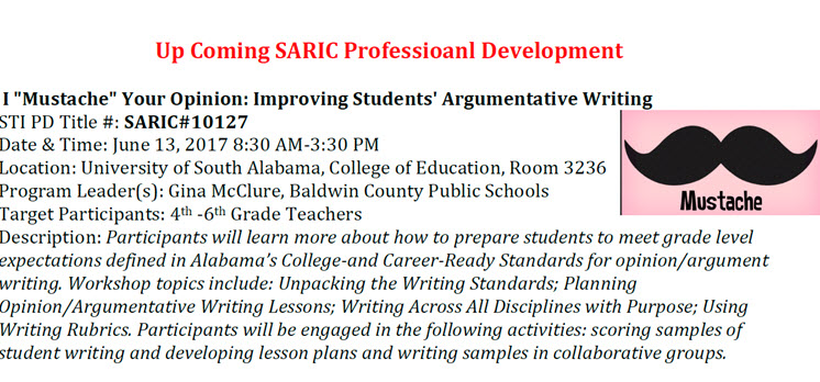 Upcoming SARIC Professional Development