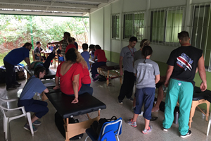 PT and OT Teams at work during the clinic set up at the Bajo Capulin School.