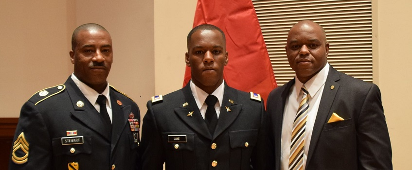 SGT Antione Stewart with 2LT Calvin Lane and LTC Lane (ret)