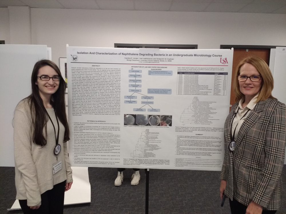Senior biology major Caroline Jordan and recent biology graduate Lisa Leatherwood