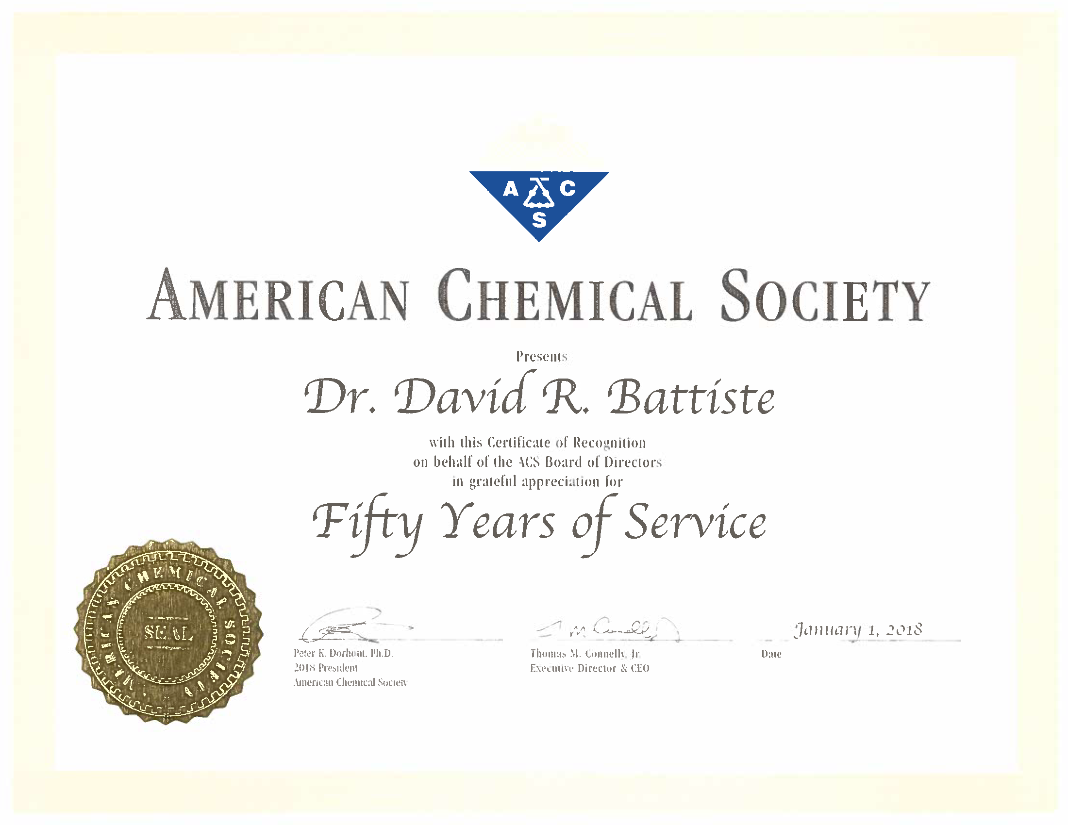 Dr. David Battiste 50 years of service recognition certificate from the ACS