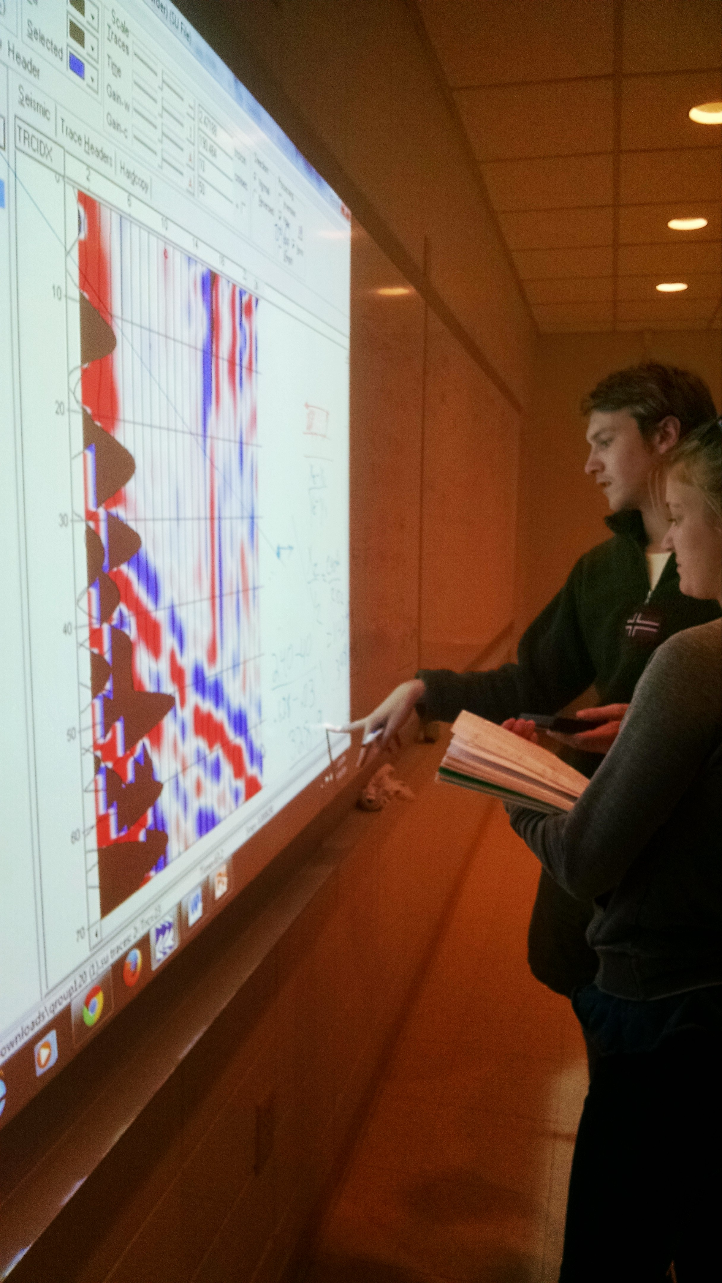 Geophysics students analyze seismic refraction data