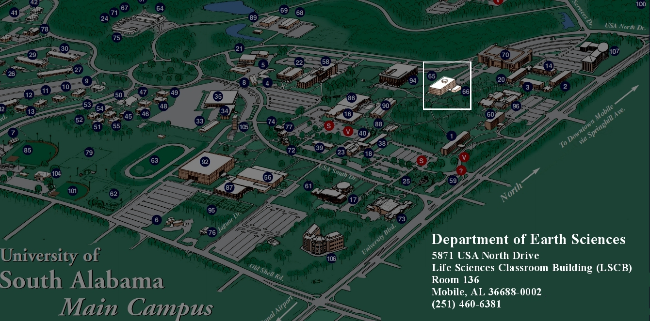 Campus Map showing Life Sciences building