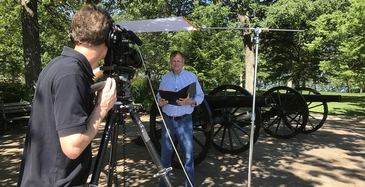 USA Writer-in-Residence Frye Gaillard, right, is filmed by Preston Sullivan in Chattanooga, Tenn., for the documentary