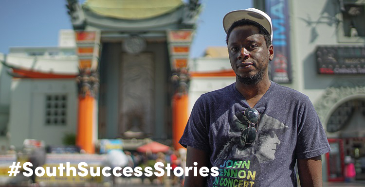Tinashe Nyatanga, '12, bought a one-way ticket to Los Angeles after graduation to break into the film industry. Nyatanga, here in front of Grauman's Chinese Theatre just a few blocks from his home, is honing his craft with the hopes of directing full-length movies. data-lightbox='featured'