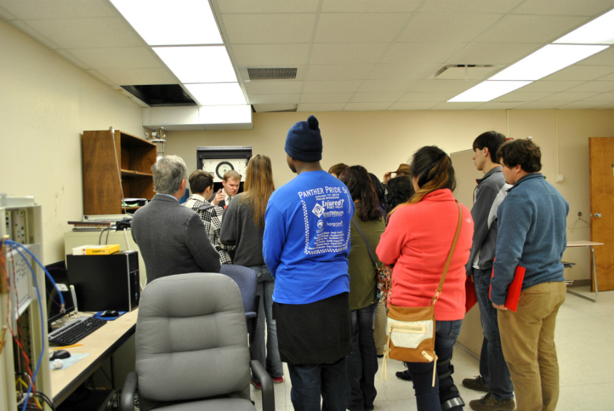 Dr. Burress showing his research lab