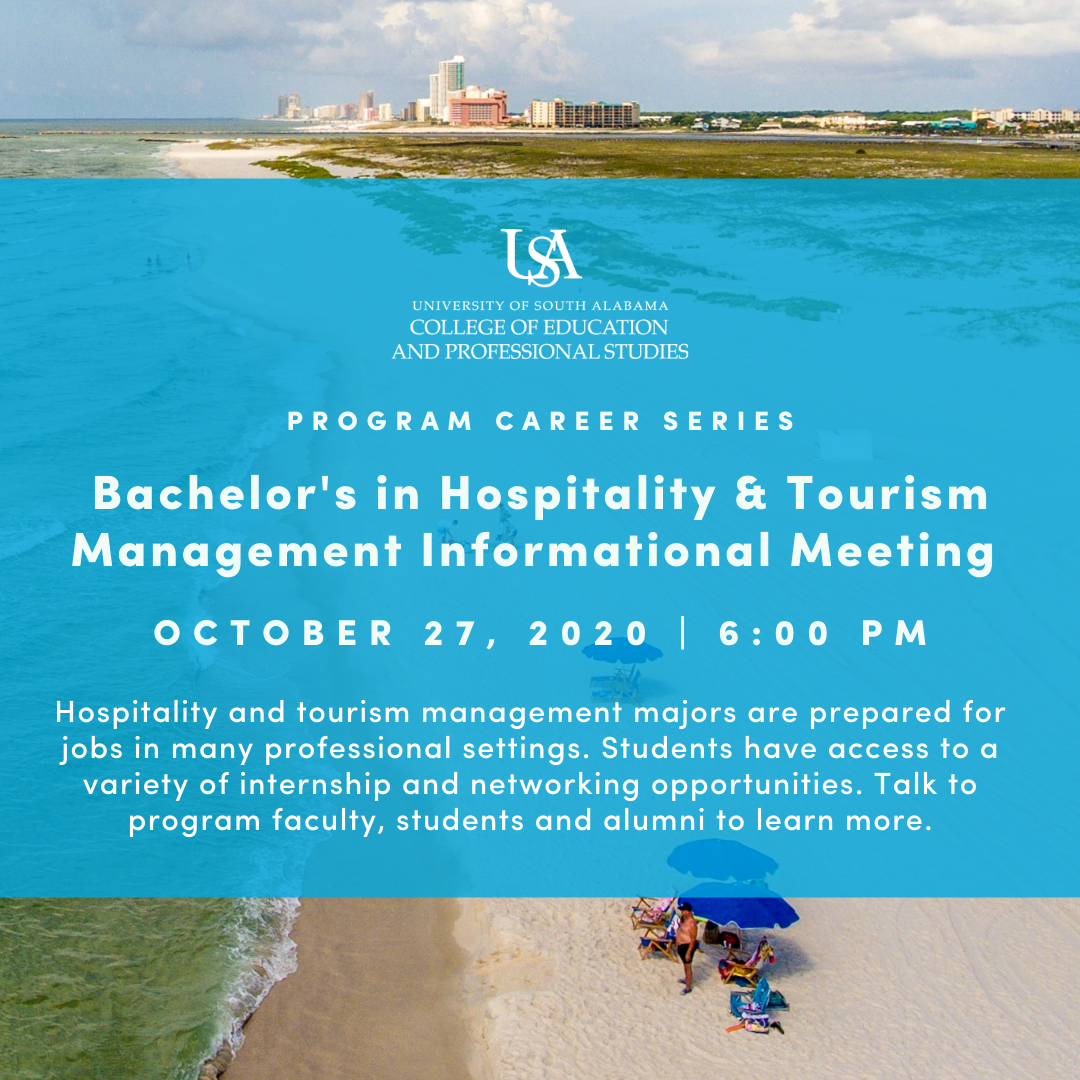 Bachelor's in Hospitality and Tourism Management Informational Session with Featured Alumni Panel on October 27, 2020 at 6:00 pm