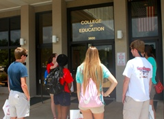 Students at the COE entrance