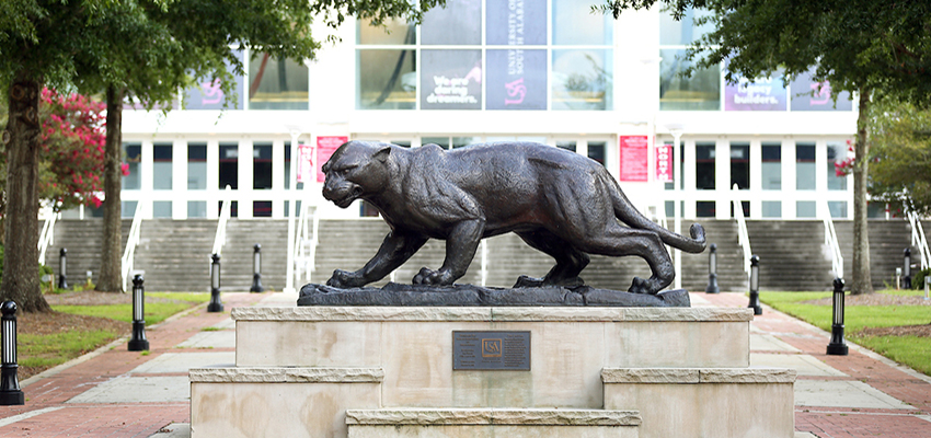 Jaguar Statue in front of the Mitchell Center.
