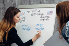 Instructor teaching english on white board,