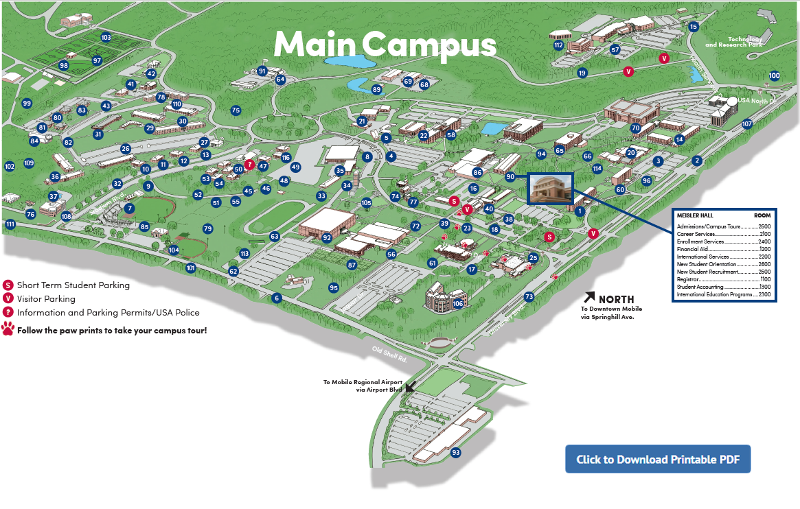 University of South Alabama Main Campus map