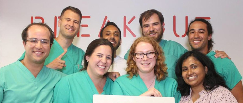 Surgery residents after a successful game of BreakOut