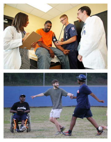 "Medical students volunteering at the free clinic and participating in ""Buddy Ball."""