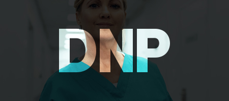 DNP  text over nurse image.