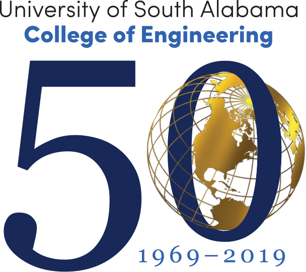 College of Engineering 50th Anniversary with globe in the middle of the 0 1969-2019