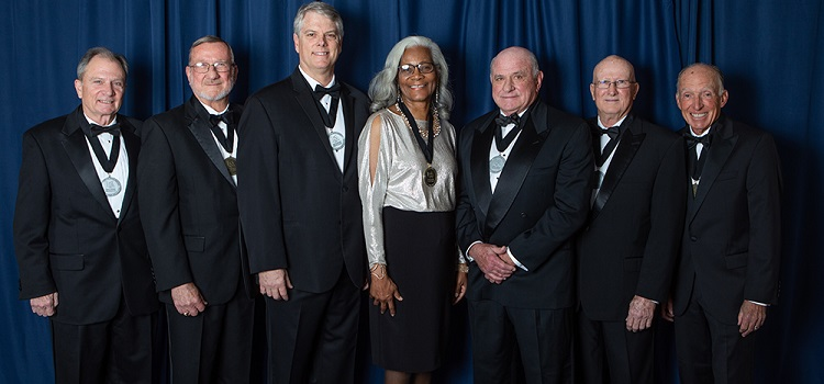 """The USA National Alumni Association honored alumni and supporters at the 16th annual Distinguished Alumni & Service Awards. Those recognized were, from left, William J. """"Happy"""" Fulford III, Dr. Joseph F. Busta Jr., Brian J. Cuccias, Merceria Ludgood, John T. Crowder Jr., William B. Burnsed Jr. and James J. """"Jake"""" Gosa."""
