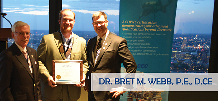Dr. Bret Webb Receives D.CE Certification