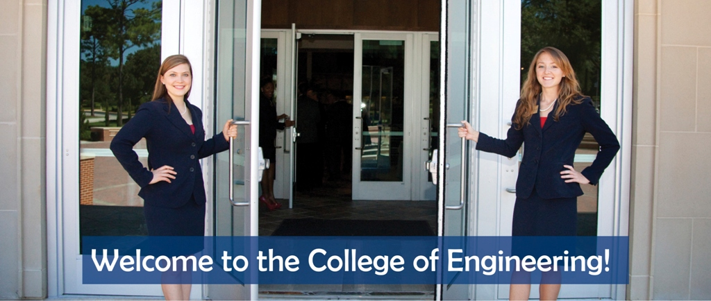 Two students holding doors open in front of College of Engineering
