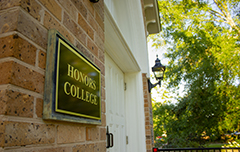 Honors College sign on building