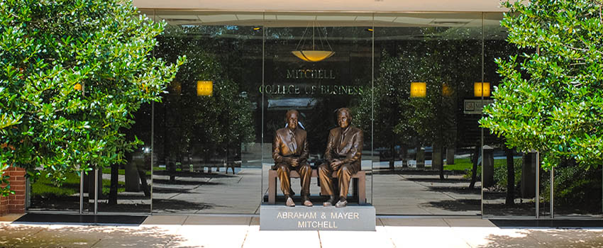 Statue of Abraham and Mayer Mitchell outside lower entrance to MCOB