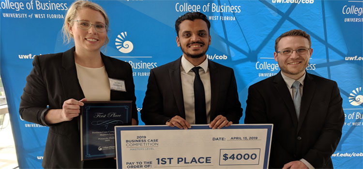 A Mitchell College of Business team of MBA students Rachel Smith, Jaikishan Maru and David Hinson took first place and $4,000 in a recent business case competition at the University of West Florida.