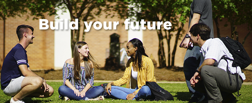 Build your future text over students sitting outside