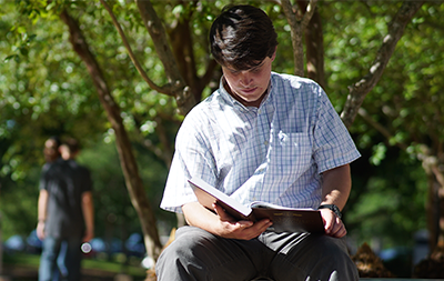 Male student reading a book outside