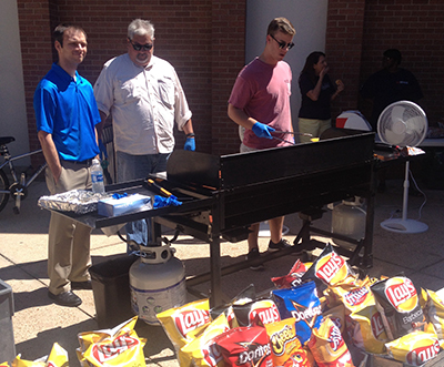 Grilling hot dogs at MCOB