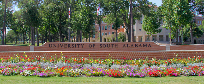 University of South Alabama front sign
