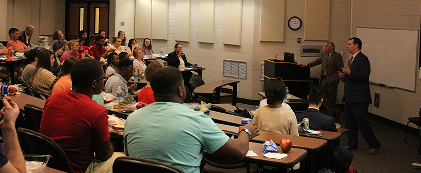 "On March 21, the Melton Center for Entrepreneurship and Innovation and PREP sponsored a Lunch and Learn for students on ""Marketing and Recruiting for a Start-up Business."""