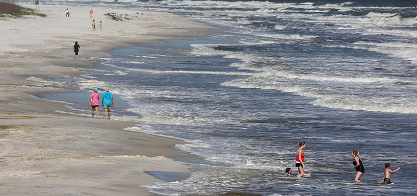 People playing in the water in Alabama beach.