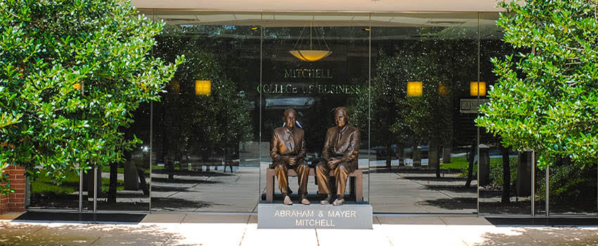 Mitchell statues in front of MCOB