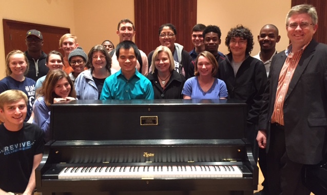 Students with Newly Donated Piano for Practice Rooms