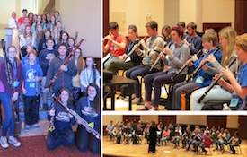 collage of images of individuals playing double reed instruments