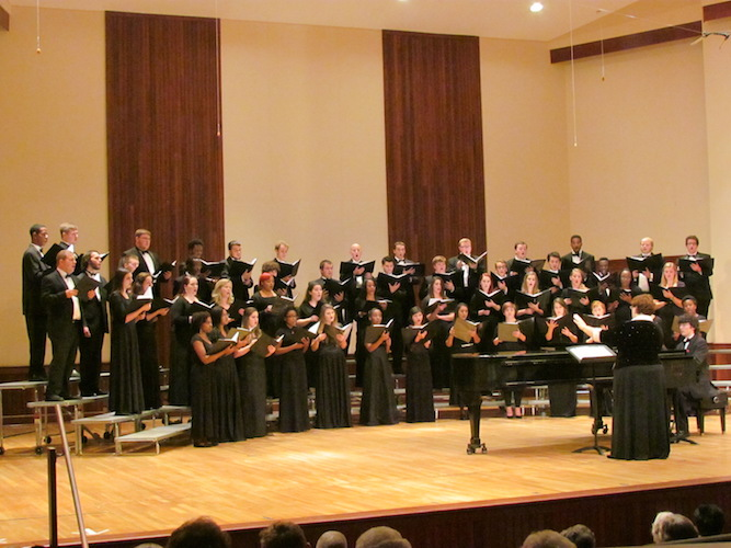 Pictured on the stage of the Laidlaw Recital Hall is the USA Concert Choir. data-lightbox='featured'