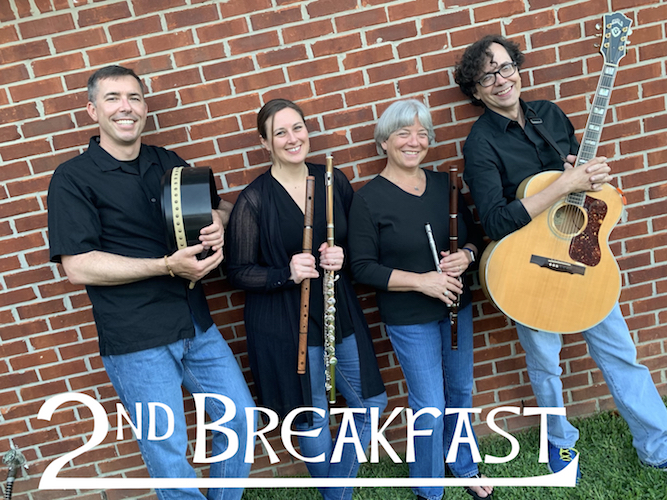 Pictured against a brick wall are members of the 2nd Breakfast Celtic Band. data-lightbox='featured'