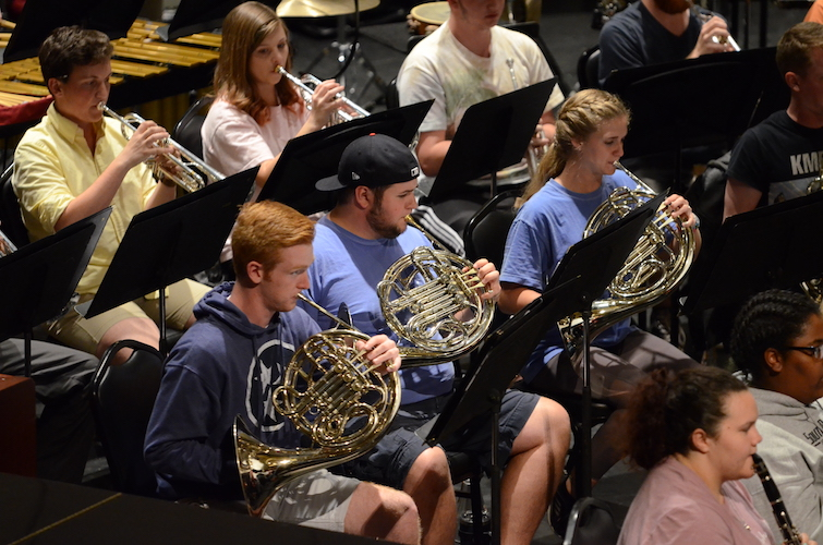 Symphony Band members pictured during rehearsal.