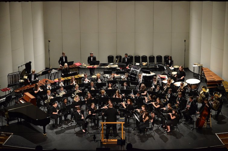 Pictured on the Saenger Theatre stage is the USA Symphony Band. data-lightbox='featured'