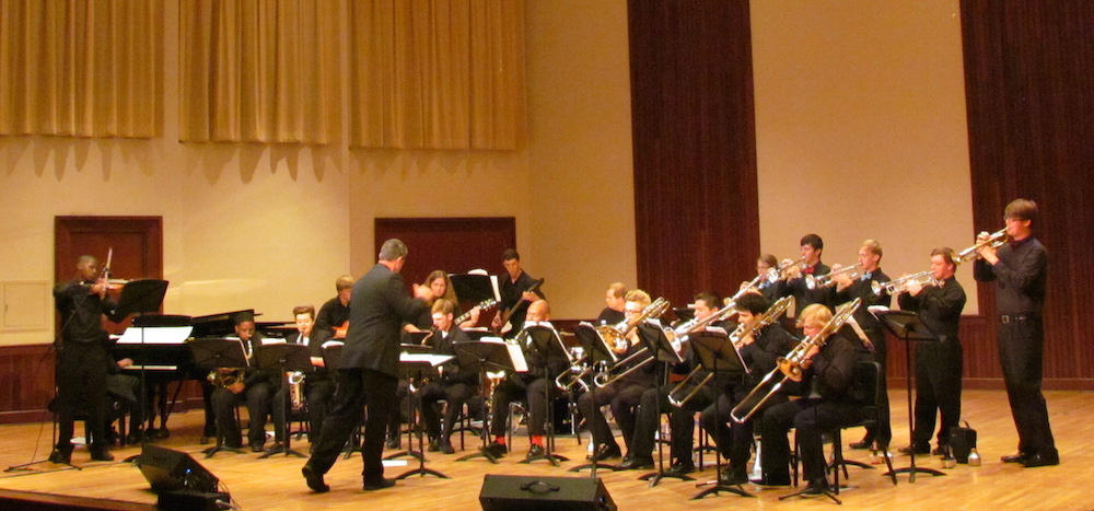 USA Campus Jazz Band on stage, directed by Dr. Michael Phillips