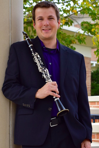 Kip Franklin standing outside Laidlaw with clarinet