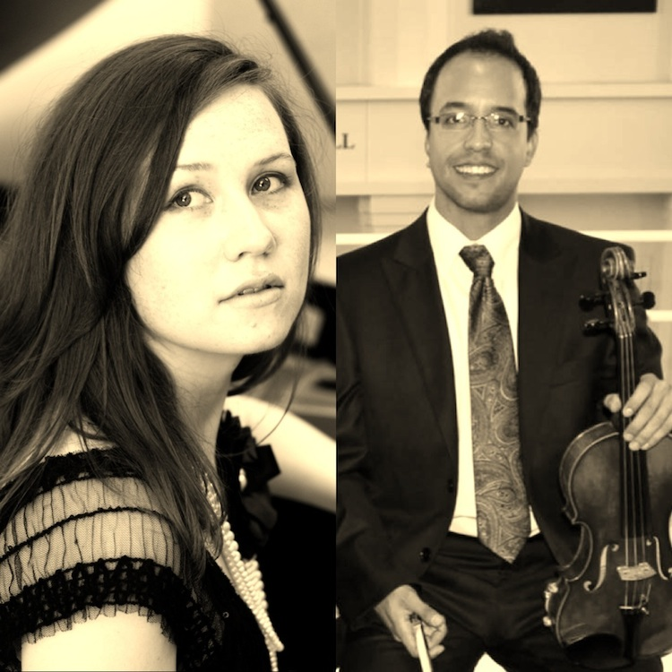 violinist Mauricio Oliveros (with violin) and pianist Lisa McCarroll of the International Trio